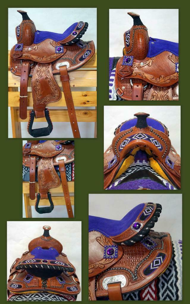 10  PURPLE Suede Brushed Look Beaded Navajo Show Barrel Western PONY Saddle New
