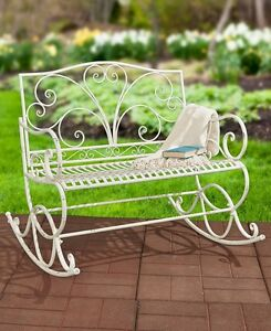 Image Is Loading Outdoor Rocker White Metal Rocking Bench Glider Chair