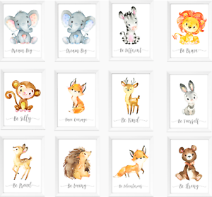 Details About Safari Jungle Animals Nursery Prints Set Baby Kids Room Pictures Wall Art Decor