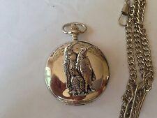 B43 Penguins  polished silver case mens GIFT quartz pocket watch fob