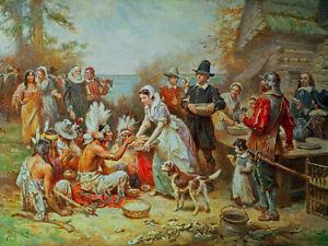 Jean-Leon-Gerome-Ferris-The-First-Thanksgiving-Fine-Art-Print-on-Canvas-Repro-SM