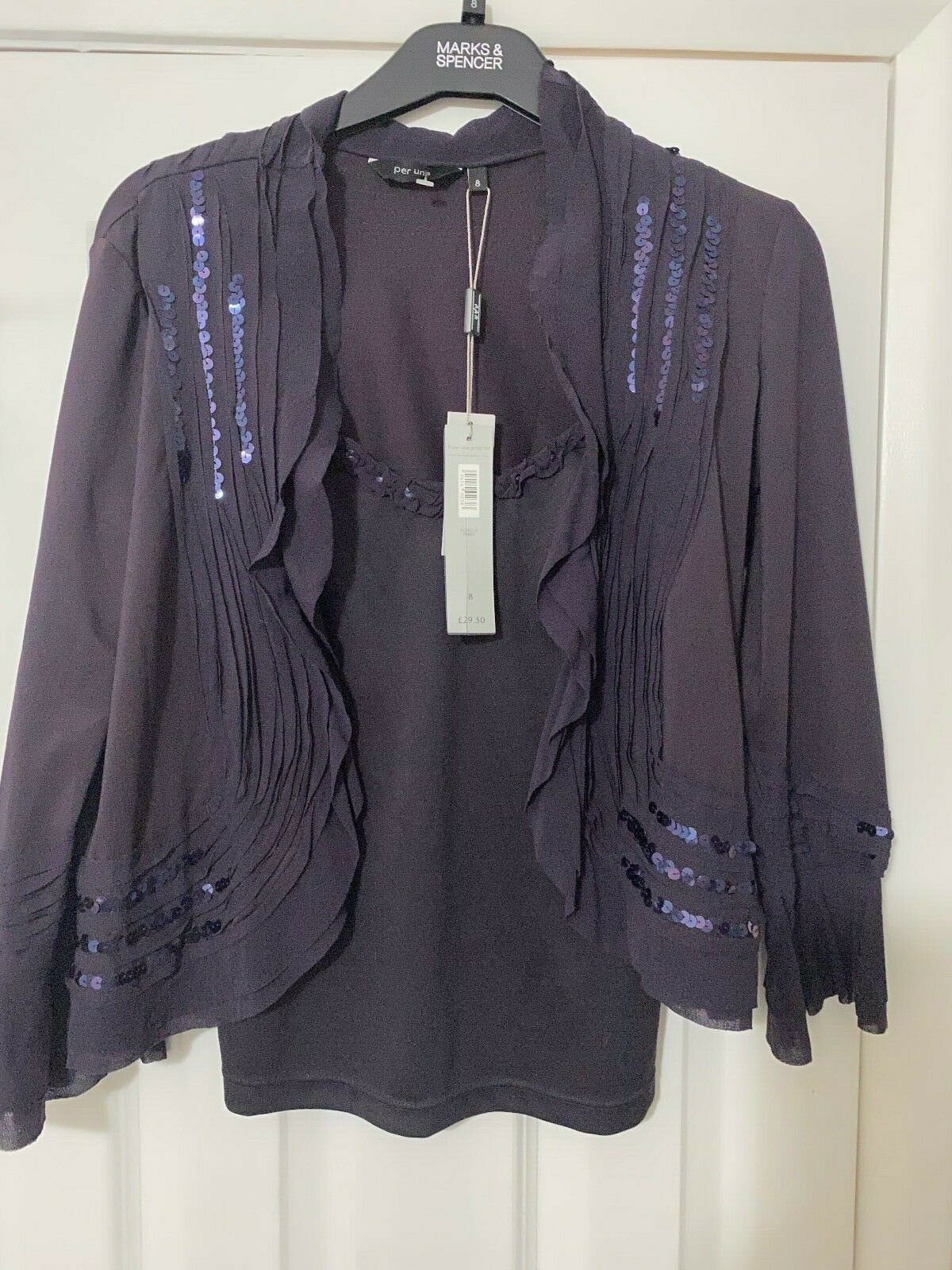 Per Una Purple Sequin Shrug Cardigan with Matching Camisole New with Tags Size 8