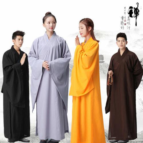 Cotton Shaolin Buddhist Monk Dress Meditation Long Robe Gown Kung Fu Uniform New