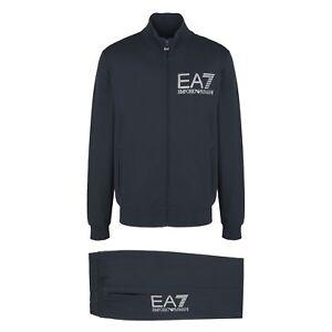 cheap for discount 3f844 3594e Dettagli su Armani EA7tuta uomo felpa zip pantalone polsino cotone blu  scuro 3YPV56