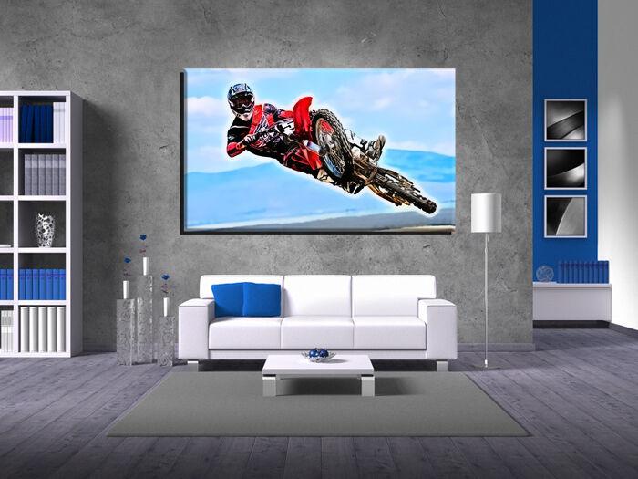 LEINWAND BILD BILDER XXL POP ART ABSTRAKT MOTOCROSS MOTORRAD RENNEN - 150x90