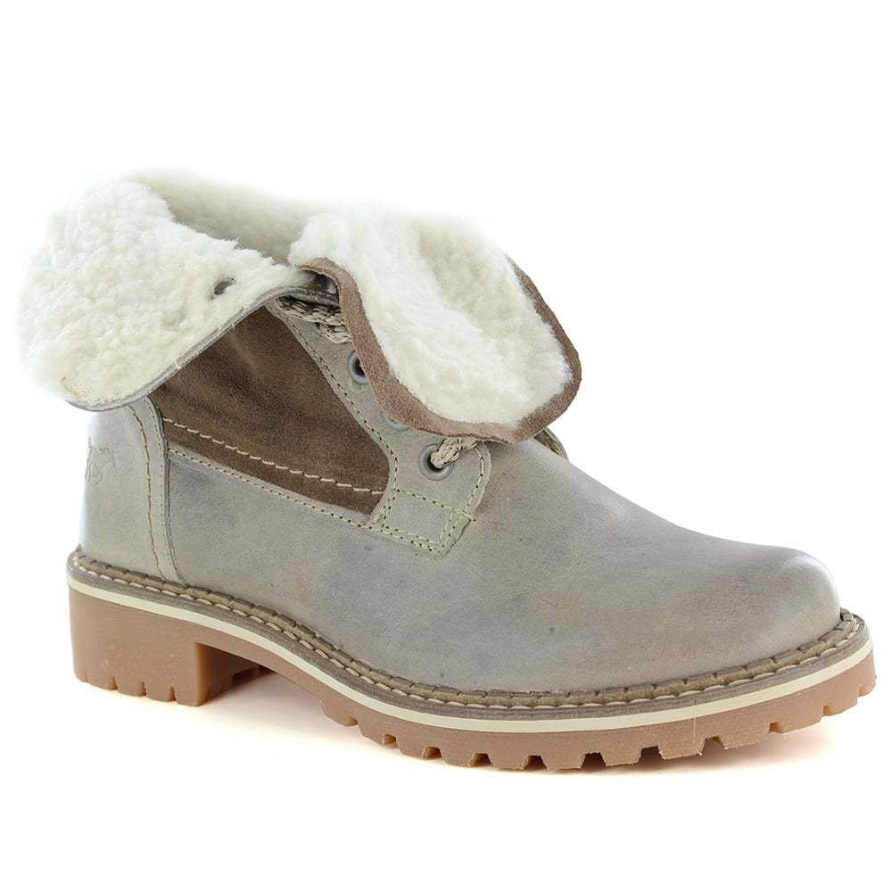 Mustang 2837-609-318 Womens Leather Warm Lined Boots - Taupe