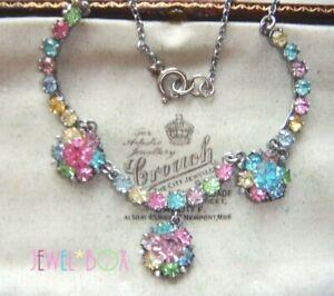 EARLY-1940s-VINTAGE-Tutti-Frutti-Pastel-Crystal-Rhinestone-FLOWER-DROP-NECKLACE