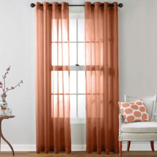 UK Home Door Sheer Curtain Window Metal Eyelet Voile Drape Panel Scarf Valances