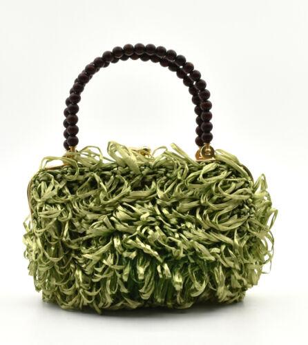 Small Bag Woman Kitsch Raffia Green Years 60 Vinta