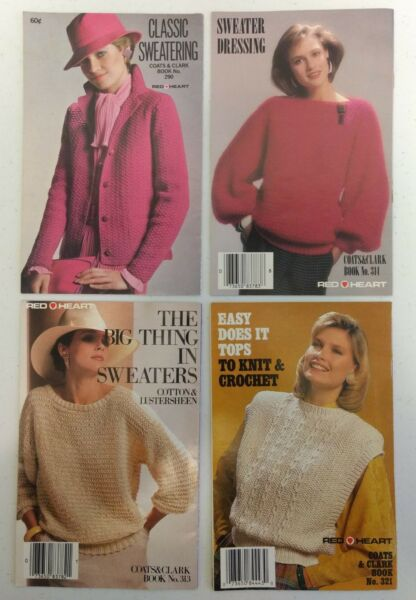 4 Vintage 1980s Knitting Pattern Books Coats Clarks Red Heart