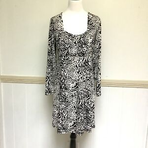 Crossroads-Size-XL-Dress-Stretchable-Tie-Back-White-Back-Leopard-Animal-Print-18