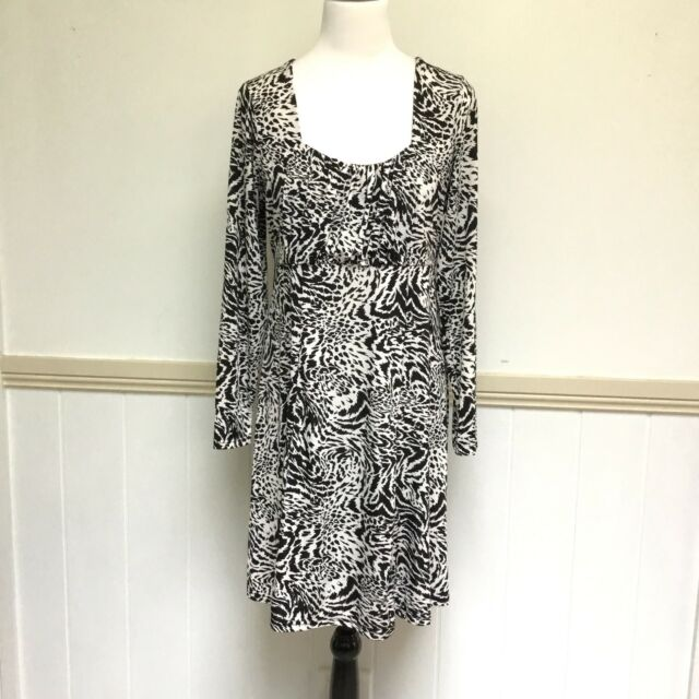 Crossroads Size XL Dress Stretchable Tie Back White Back Leopard Animal Print 18