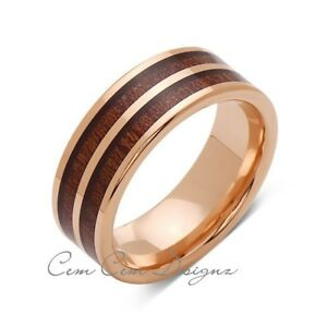 Image Is Loading Koa Wood Wedding Ring Rose Gold Tungsten Band