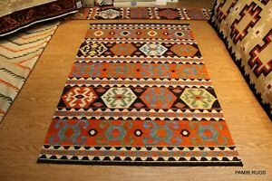 Southwestern style 5x8 ft. hand woven kilim SHIRVAN CAUCASIAN Black & ORANGE RUG