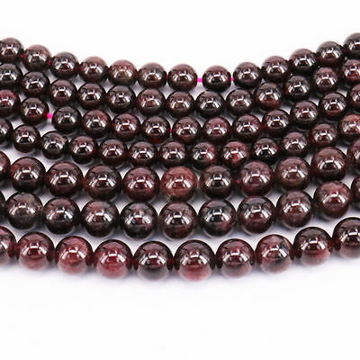"Lots 16"" Strand Natural Garnet Round Spacer Loose Beads Charms Finding 4-12MM"