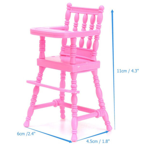 New Pink Plastic Baby High Chair 1//6 Doll/'s Accessories House Furnitures Toy Kit