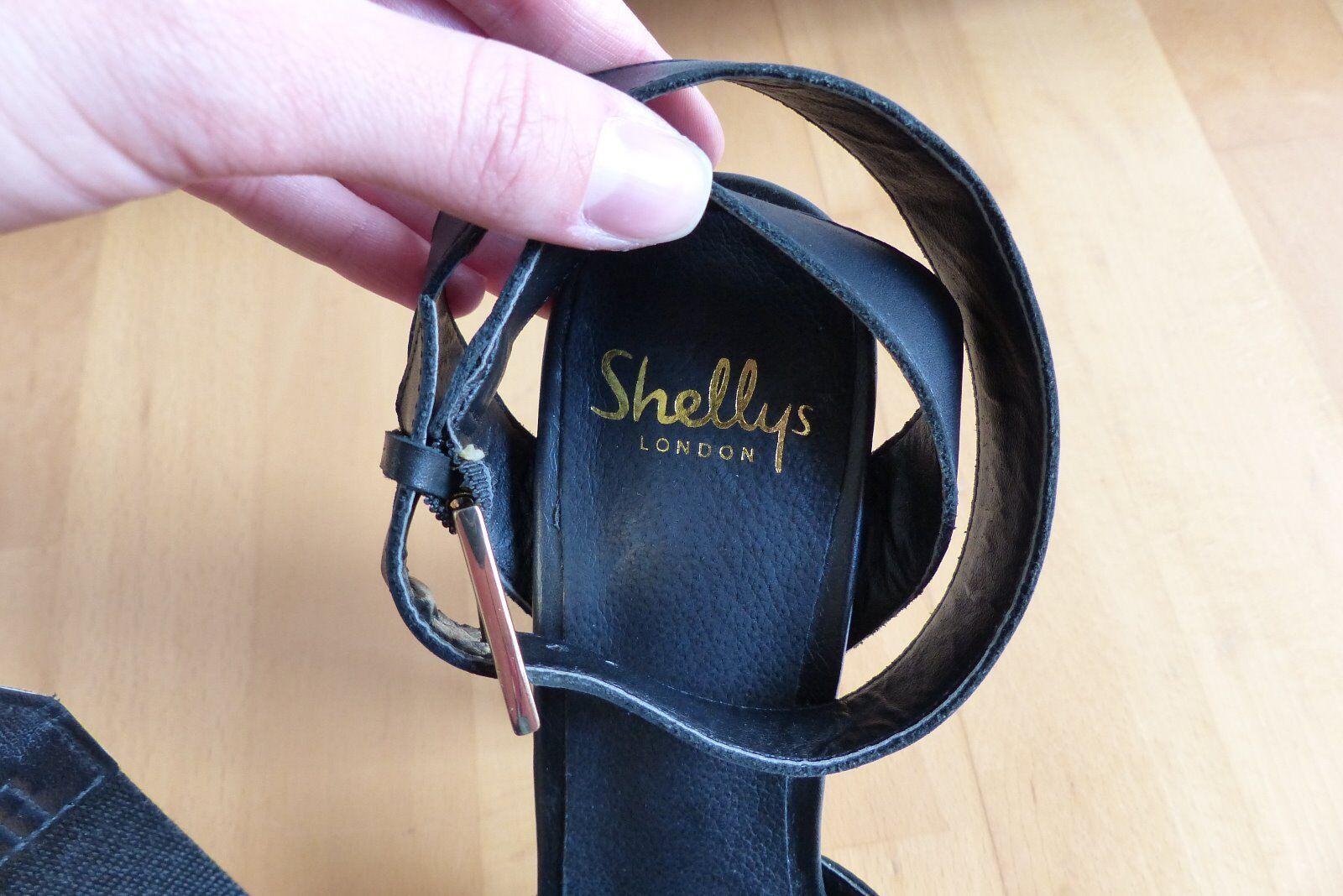 Shellys London Plateau Sandalen schwarz schwarz schwarz Leder EU 38 Neu b19edd
