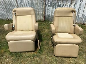 Details about Villa International King AIRE RV Captain's Chairs Tan Seats  Used Heat AC Massage
