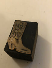 Cowboy Boot Printing Letterpress Printers Block Copper