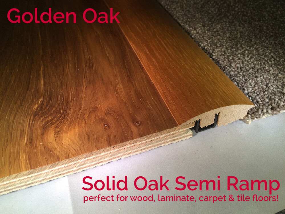 Real Solid Semi Ramp For Carpet Wood Flooring Trims Door Threshold LACQUERED OAK
