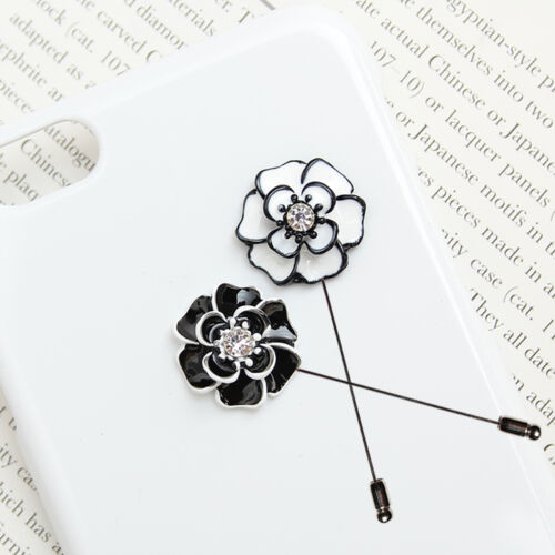 Mens Accessories Cubic Diamond Metal Flower Boutonniere Brooch Lapel Pin Corsage