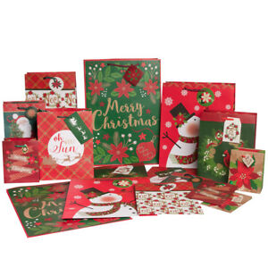 Image Is Loading 16pk Paper Christmas Gift Bags Bulk Set Assorted