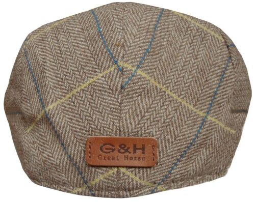 Homme ou garçon Herringbone Vérifiez Flat Cap Baker Boy Casquettes Newsboy Hat Gatsby Chapeaux