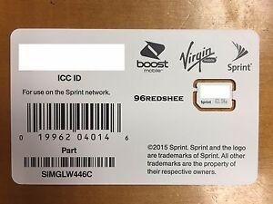 Details about Sprint 4G LTE SIM card SIMGLW446C