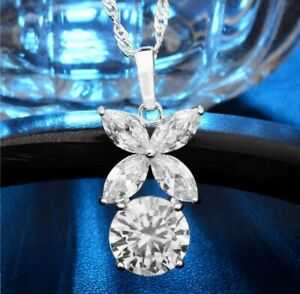 2Ct-Round-Marquise-Cut-Diamond-Stylish-Wedding-Pendant-amp-Chain-14K-White-Gold-Fn
