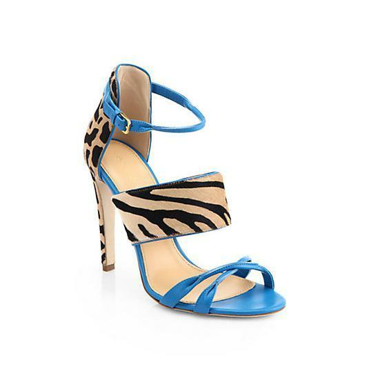 1285 New Sergio Rossi Donyale Pony Turquoise Pelle Sandals Shoes 36.5 37 40