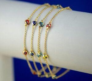 Image Is Loading 14k Yellow Gold Evil Eye Bracelet