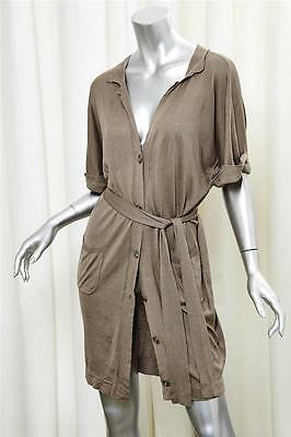 MAXMARA Taupe Silk Cotton Cardigan Waist Tie Short Sleeve Mini Dress sz. Medium