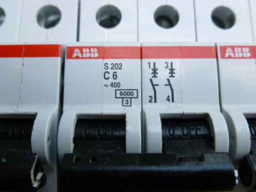 S202-C6 GB10963 et S203-C20GB10963 ABB Miniature Circuit Breaker Trio w//Panel