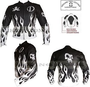 amp; Blanc Noir Motocycle Flamme Homme Skelet Cuir Veste Moto Mode wSOtqqEx