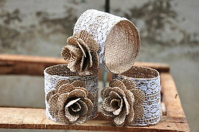 with lace or bling 8pc Set of Burlap Napkin rings-Pick styles of burlap