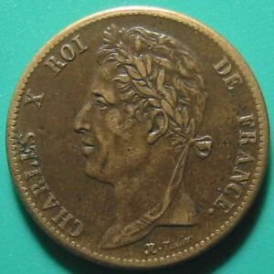 1825-A-FRENCH-COLONIES-5-CENTIMES-CHARLES-X-PARIS-MINT-BETTER-GRADE-BRONZE-27mm