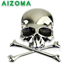 3D-Chrome-Metal-Skull-Cross-Bone-Car-Trunk-Motorcycle-Emblem-Badge-Decal-Sticker
