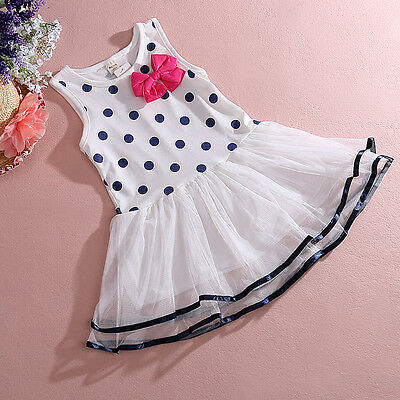Baby Toddler Kid Girls Polka Dot Bow Tutu Skirt Birthday Party Dress 1-4Y