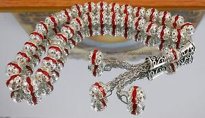 Rare İslamic Prayer Worry Beads Red Crystal & Sterling Tasbih Gebetskette 8 mm