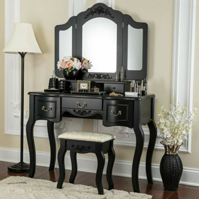 Luxury Mirrored Dressing Table Bedroom Set Home Vanity Dresser Console w/  Stool