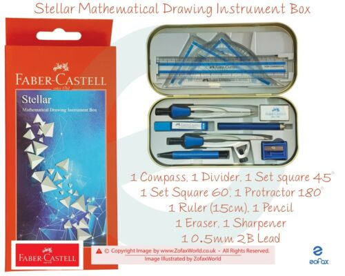 Maths Compact Geometry Set With Compass Ruler Protractor Square Sharpener Case