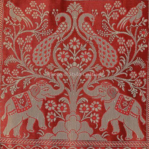 Indian Pillow Case Elephant Brocade Silk Brown Single Cushion Cover Throw 12X12
