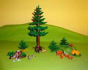 Playmobil-Spielset-Wald-amp-Waldtiere-Tannen-Tiere-Fuchs-Wildschwein-Konvolut