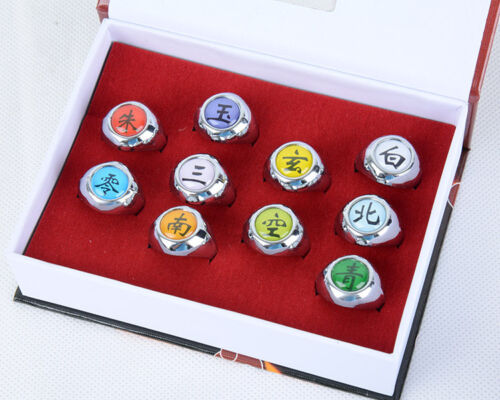 Naruto Shippuden Set of 10 Akatsuki Rings Boxed Anime Cosplay Prop Sasuke Kakash