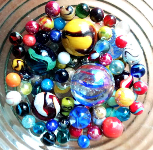 MIXED MARBLES in 8 sizes UNIQUE set of 70