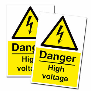 2 X A5 Danger High Voltage Stickers Health And Safety