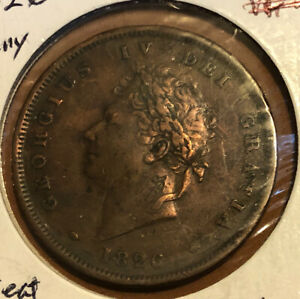 Great-Britain-1-Penny-1826-Copper-Collectible-Coin-UK-Seated-Britannia-KM-693
