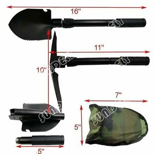 Army Military Folding Spade Shovel Camping Metal Detecting Mini Tool Pouch New