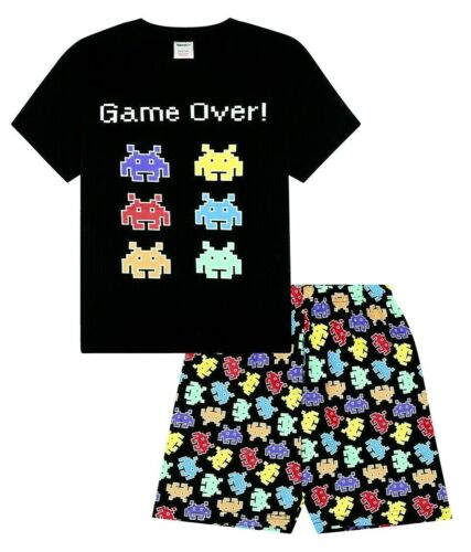 Game Over Space Invaders Gaming Black Cotton Short Pyjamas