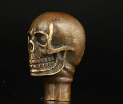 Old Bronze Hand Carved Skull Statue Cane Walking Stick Head